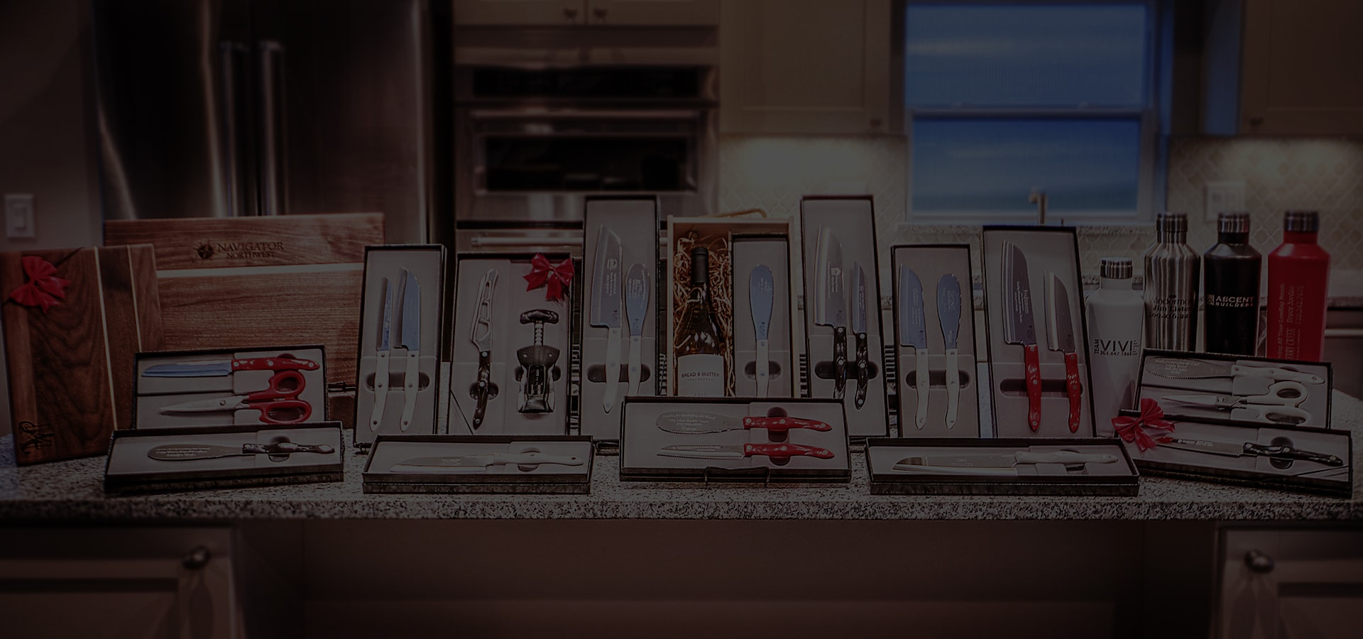 Lineup of top closing gifts in a custom kitchen.